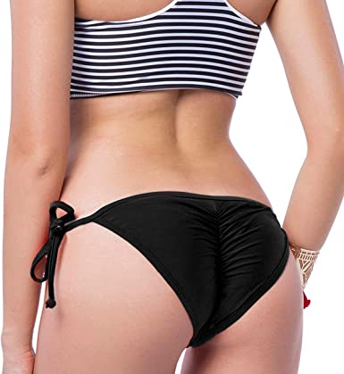 Ladies Black and White Bikini with Bandau Top Halter Neck and Tie Side Briefs