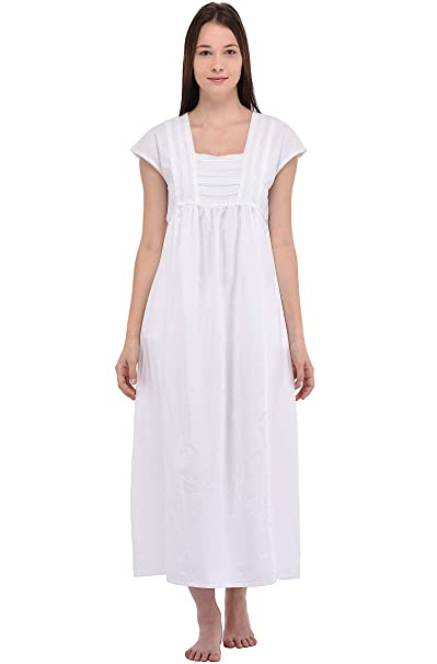 Cotton Lane Camicia da Notte in Cotone Bianco Vintage Reproduction Plus Size N291-WT.