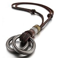 mendino joyas doble Anillos Colgante Plata Ajustable Cuerda de Cuero Collar de cadena, con 1