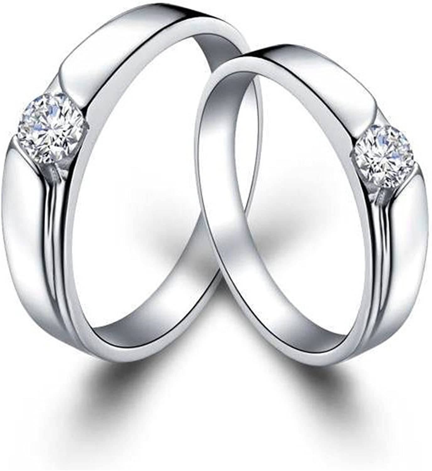 Bishilin Silver Plated Engagement Rings Best Promise Rings for Her Anniversary Wedding Bands Size 8