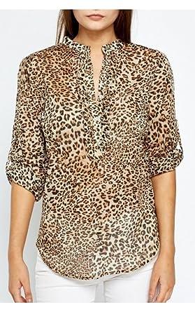 Ex Zara Informal Estampado Leopardo Blusa - algodón, Leopardo, 100% algodón, Mujer, Small: Amazon.es: Ropa y accesorios