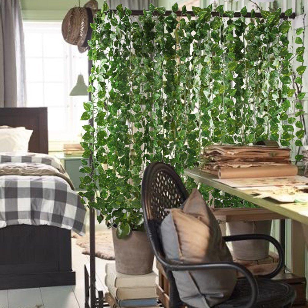 87 Feet-12 Pack Artificial Ivy Leaf Garland Plants Vine for Hanging Wedding Garland Fake Foliage Flowers Home Kitchen Garden Office Wedding Wall Decor Hecaty