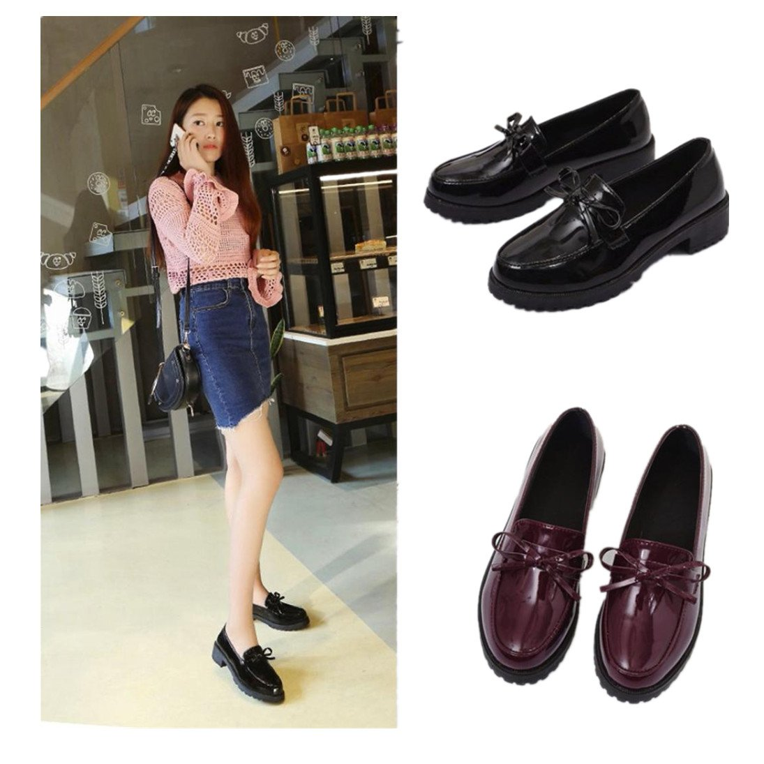 a316c38947494 Fheaven Women's Casual Leather Loafers Shoes Driving Moccasins Flats Shoes  Bowknot Low Platform Square Heel Ankle Shoes Brown