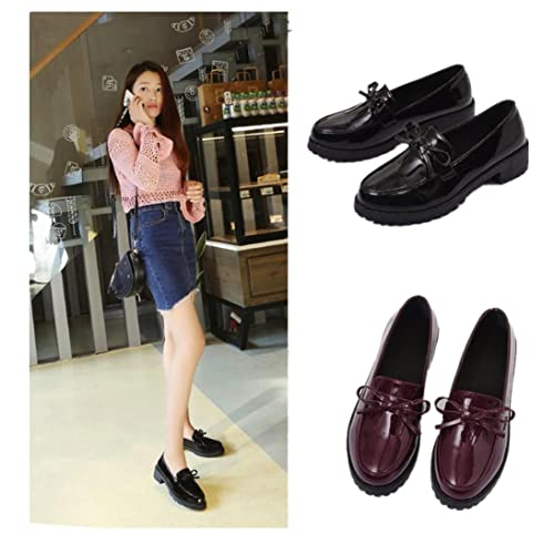 Fheaven Womens Casual Leather Loafers Shoes Driving Moccasins Flats Shoes Bowknot Low Platform Square Heel Ankle