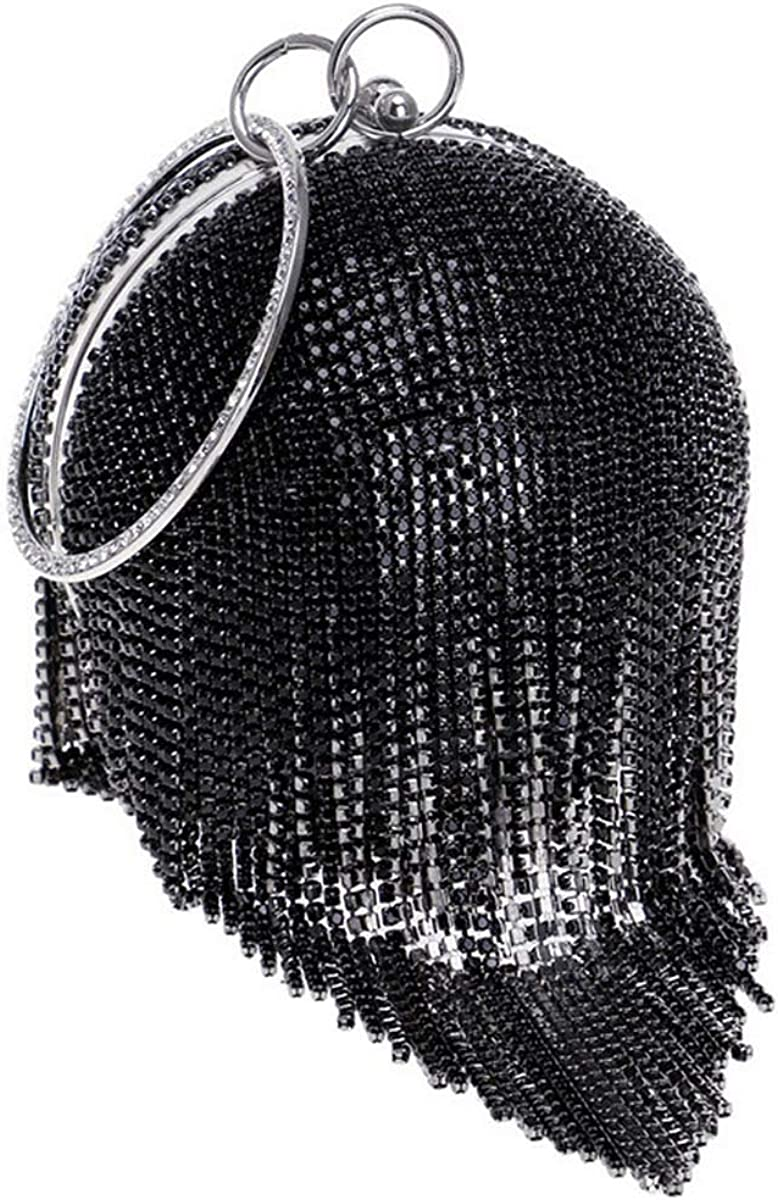 Flada Round Ball Clutch Purse Women Crystal Evening Bag Tassel Wedding Party Handbag