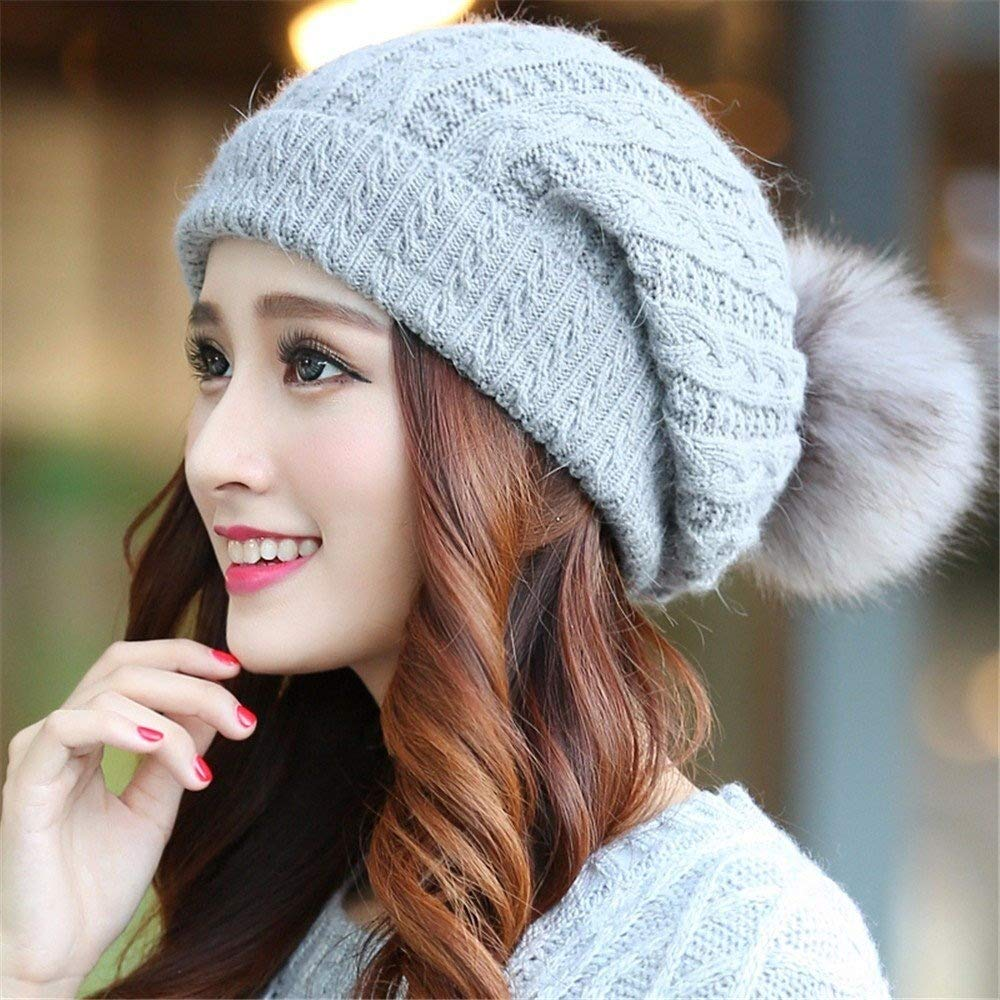 Tuyishangmao Knit Beanie Hat, Casual Solid Color Fur Pompoms Winter Beanie Hat (Color : Grey, Size : M)