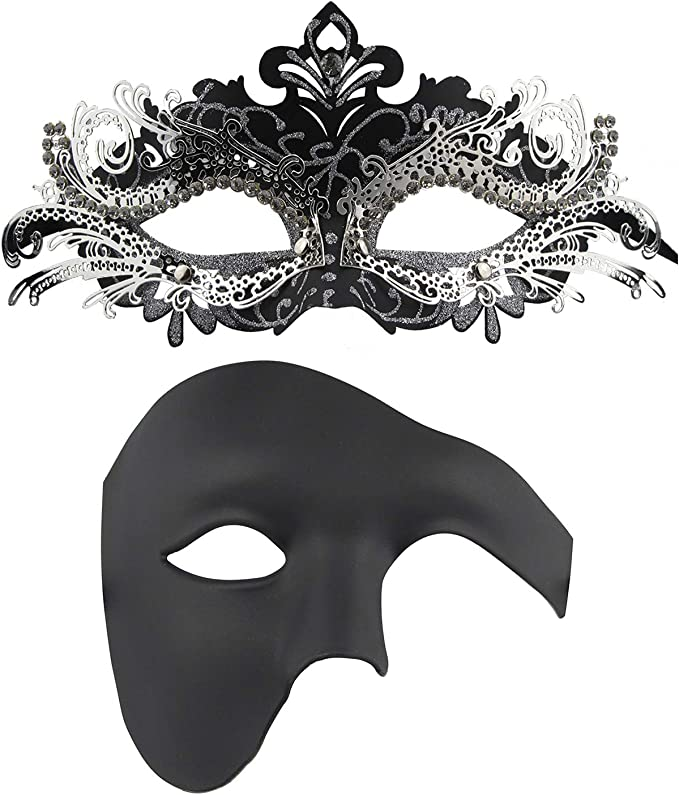 Amazon.com: Juego de máscaras para parejas de Mardi Gras ...