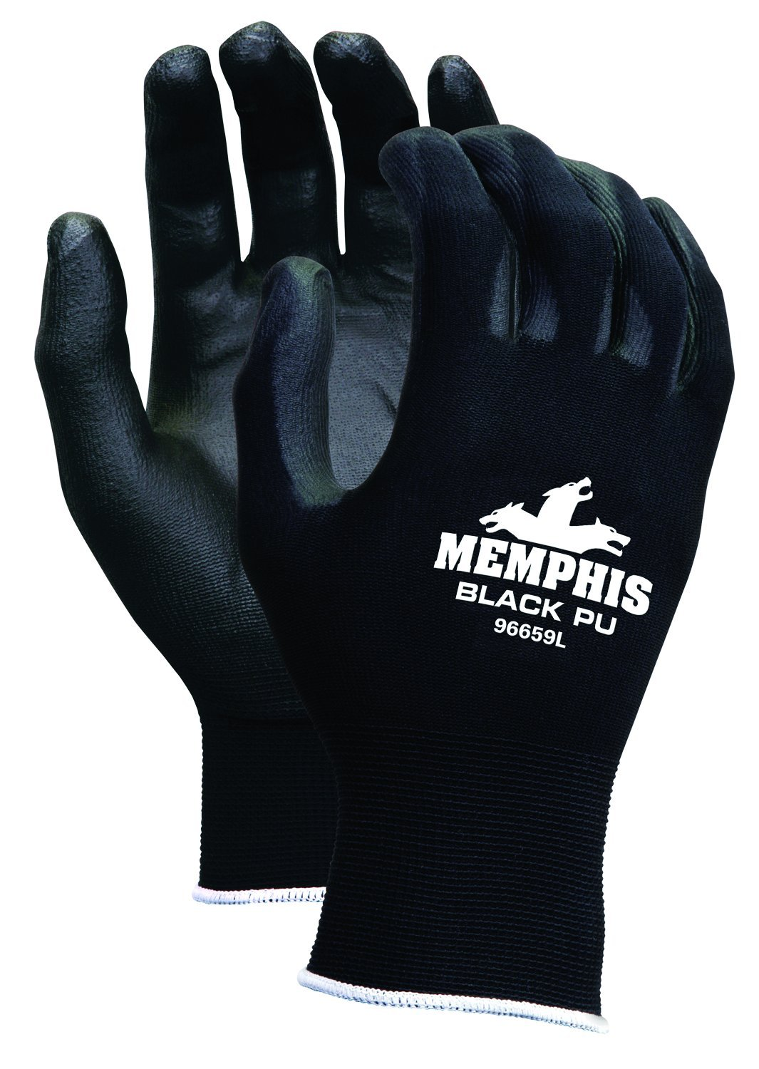 MCR Safety 9669L Nylon Knitted Shell MCR Safetys with Black PU Dipped Palm and Fingers, Black, Large, 1-Pair