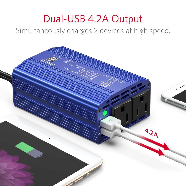 BESTEK 300W Power Inverter DC 12V to 110V AC Car Inverter with 4.2A Dual USB Car Adapter Black