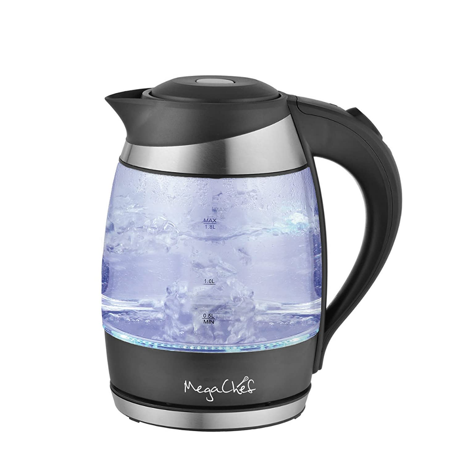 MegaChef 1.8Lt. Stainless Steel and Glass Electric Tea Kettle