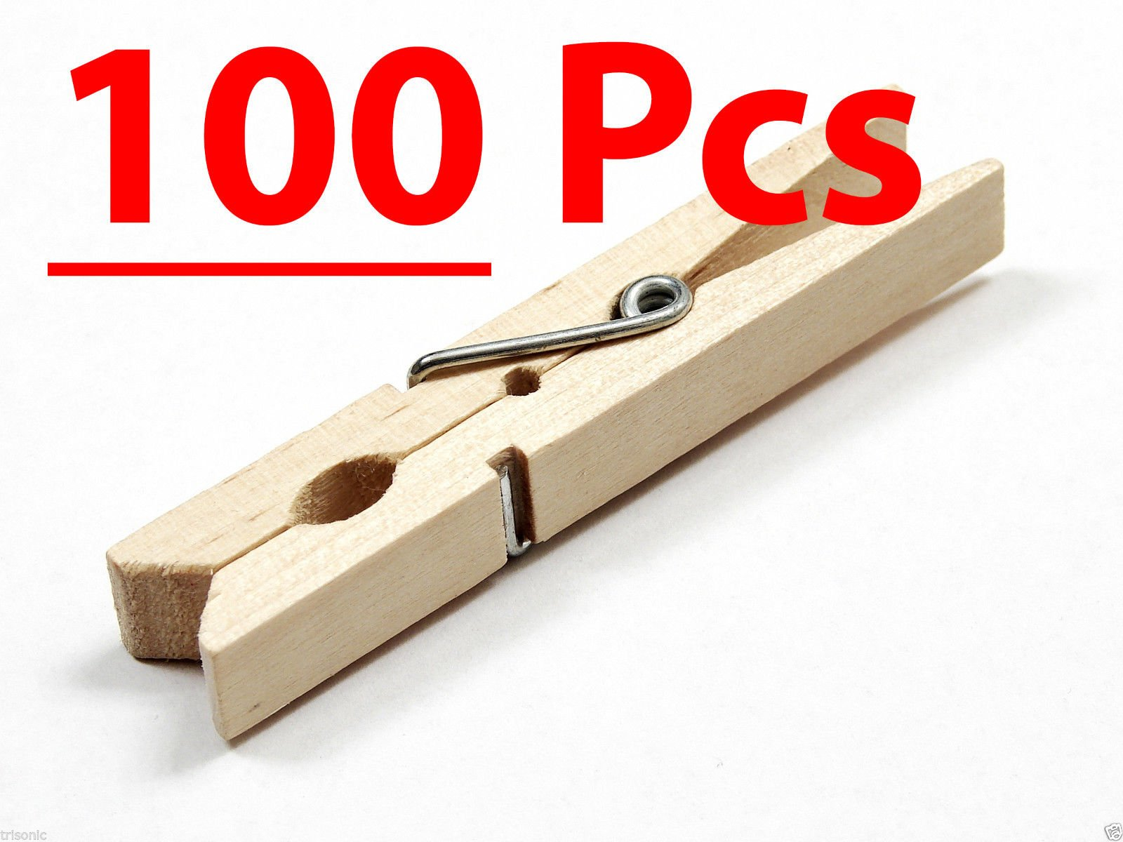 Aromdeeshopping New Wood-Clothespins-Wooden-Laundry-Clothes-Pins-Large-Spring-Regular-Size 100-Pcs