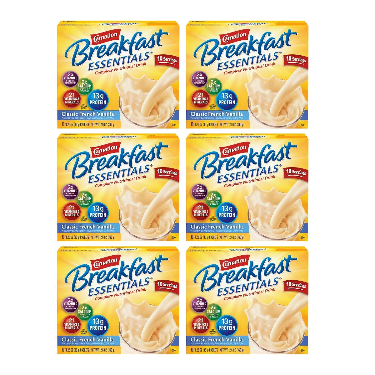 Carnation Breakfast Essentials Powder Drink Mix, Classic French Vanilla, 10 Count Box of 1.26 oz Packets, 6 Pack (Classic French Vanilla, 60 Count) by Carnation Breakfast Essentials