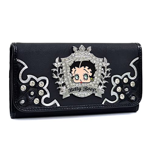 Betty Boop Carteras y billeteras Billetera Rhinestone Billetera para Mujer Monedero chequera Negro 2: Amazon.es: Zapatos y complementos