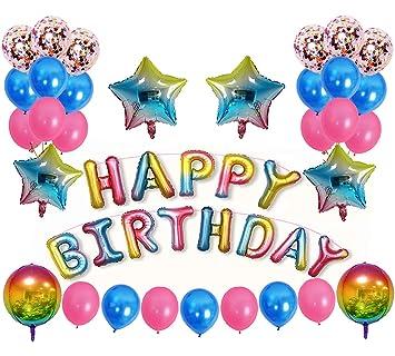 Amazon.com: Globos de felicitación de cumpleaños con diseño ...
