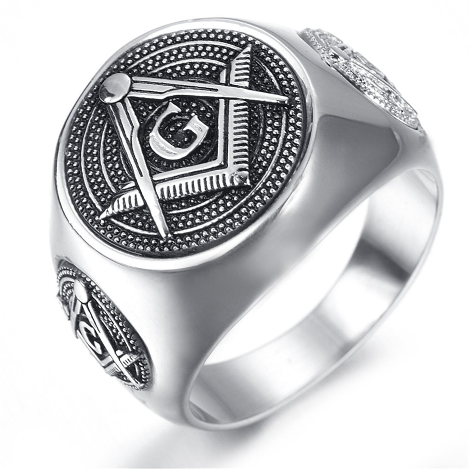 LILILEO Jewelry Stainless Steel Dense Bumps Masonic Dome AG Ring For Men's Rings by LILILEO