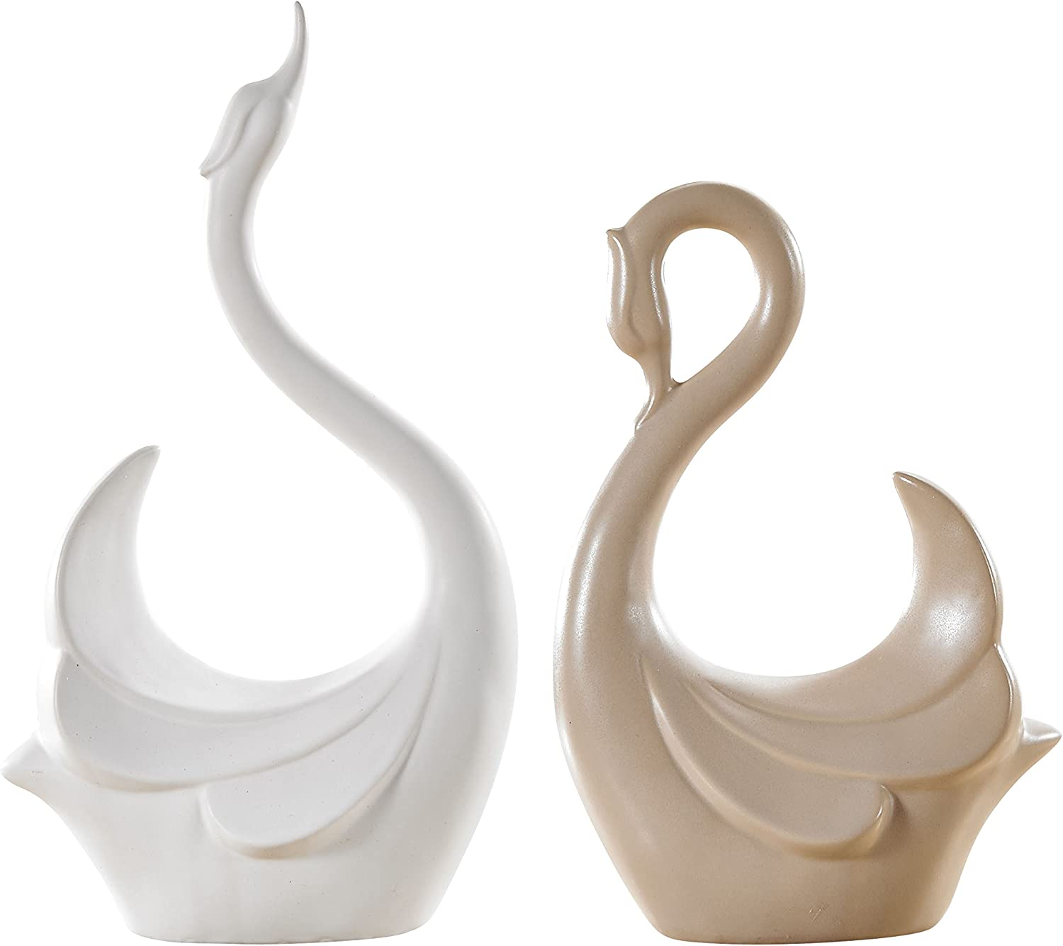 "Pure.Lifestyle - 12.5""&9.5"" Couple Swans(Set of 2) - Two Colors Ceramic Decoration Animals Figurine Porcelain Sculptures Statues Crafts Wedding Gifts Welcome Home Warming"