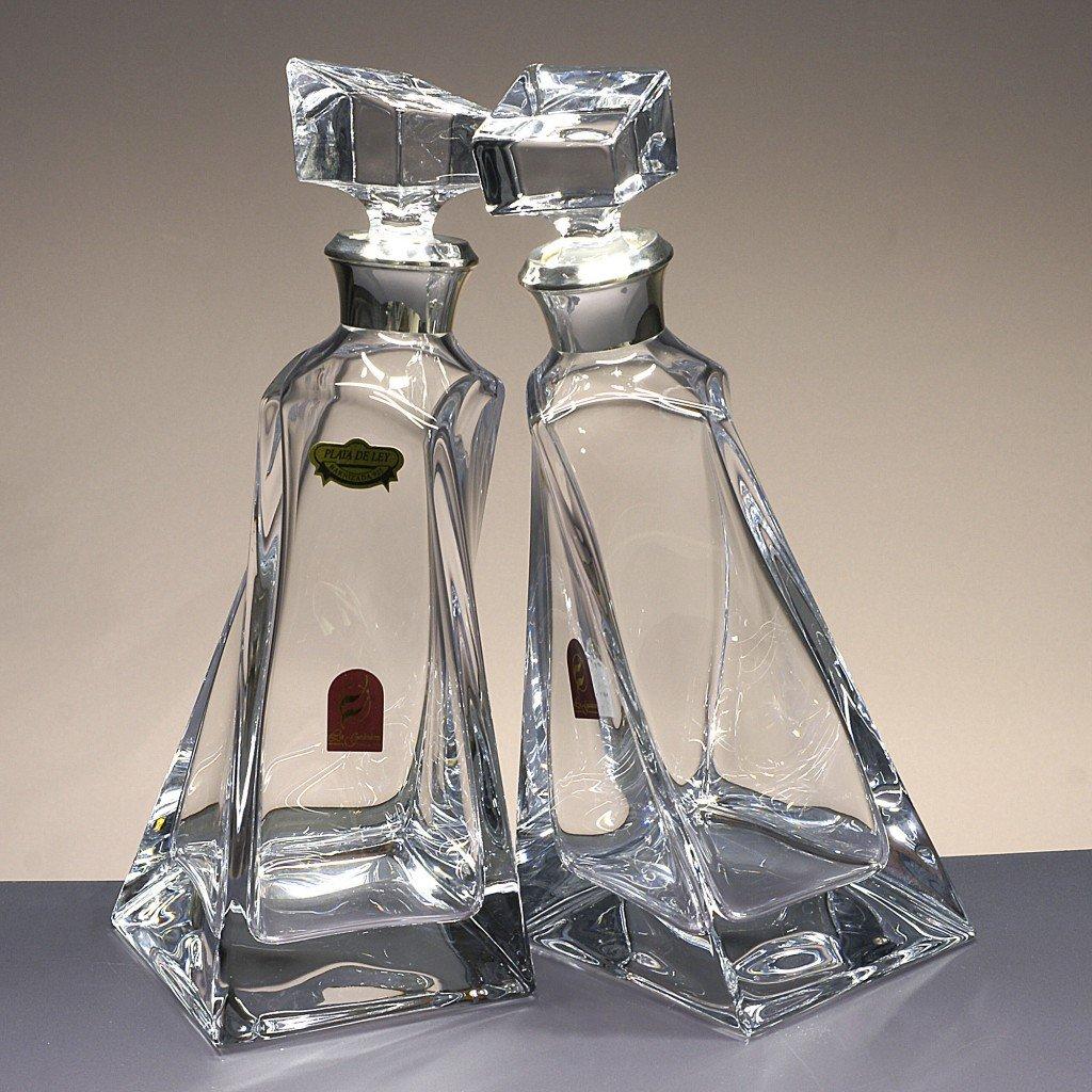Botellas de Cristal, decanters, garrafas, para Whisky y Licor, de Bohemia, colección Lovers, Boquilla en Plata de Ley 925, 27,3 cm. de Altura.