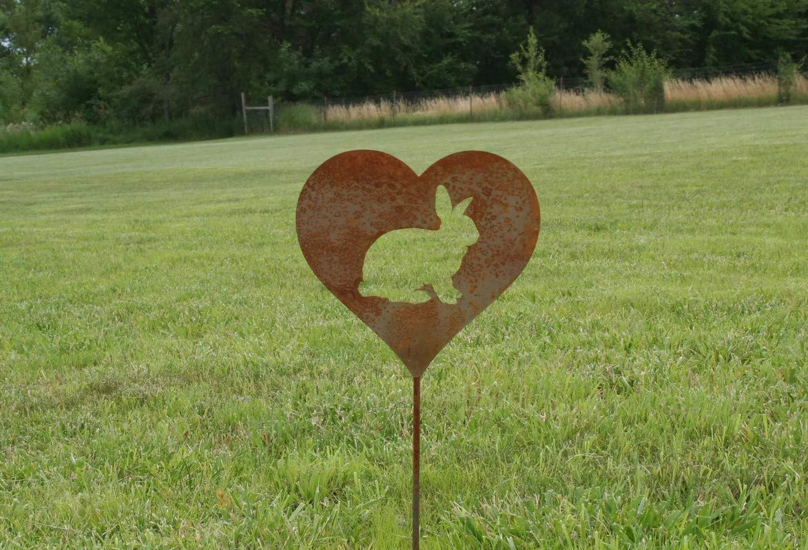 Bunny Rabbit Heart Garden Stake Pet Memorial