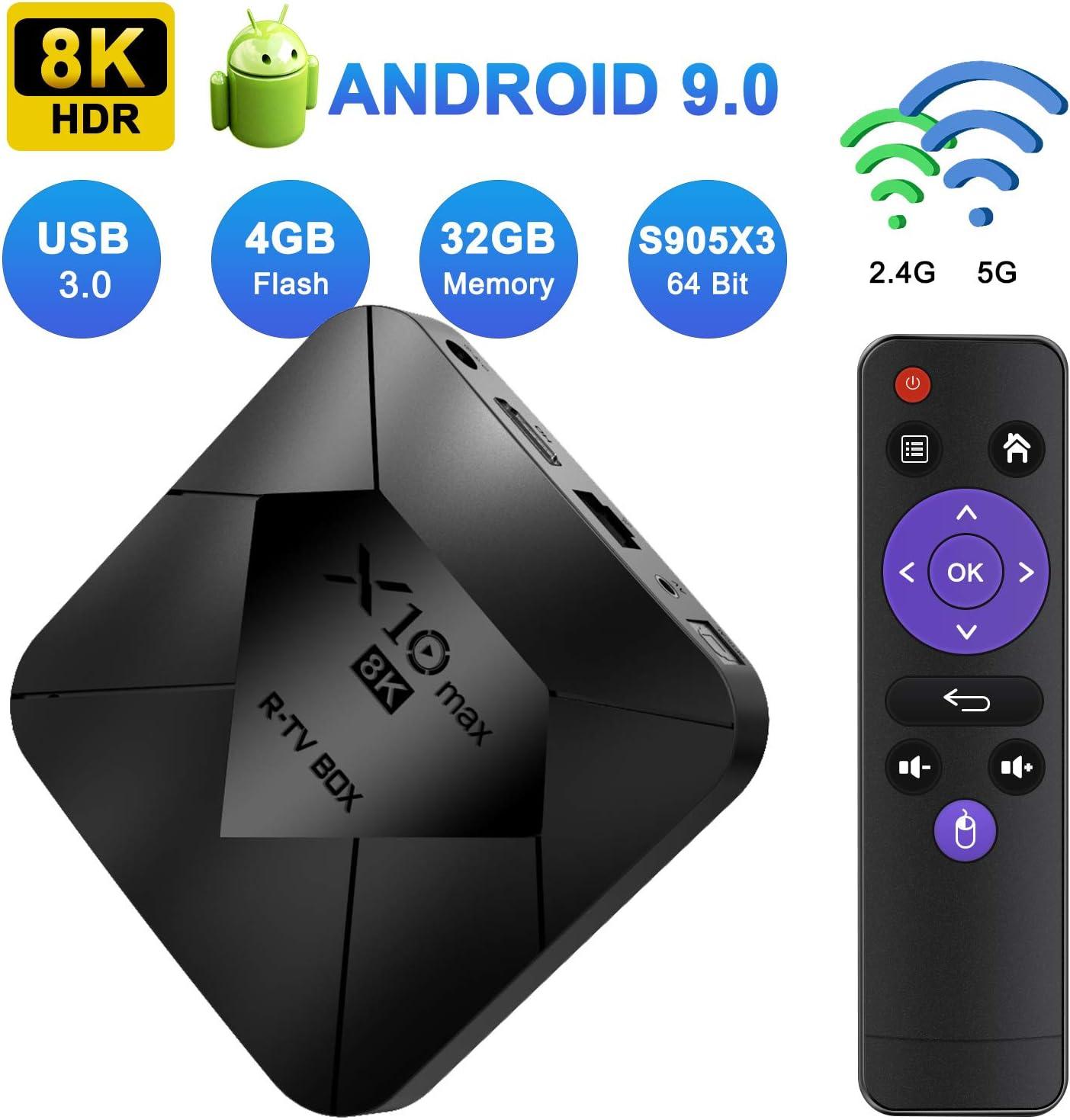 XGODY Smart TV Box X10 MAX,Android 9.0 TV Box con S905X3 Quad-Core Cortex-A55,8K HDR/ HDMI 2.1/ H.265/ USB 3.0 Smart Media Box,Bluetooth WiFi 2.4G/5G Streaming Box: Amazon.es: Electrónica