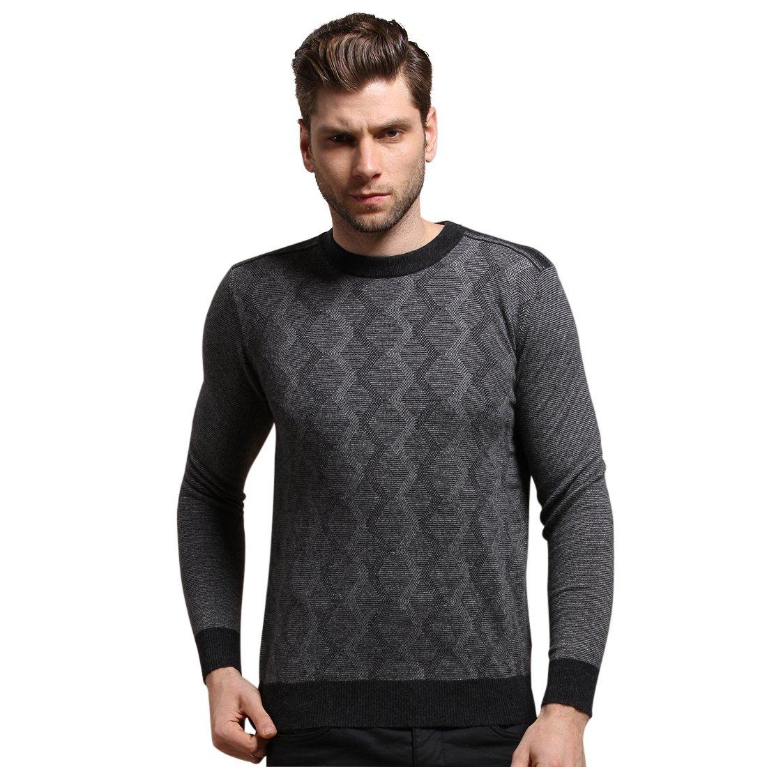 SpringAir Men's 100% Cashmere Sweater Long Sleeve Slim-Fit CrewNeck Pullover