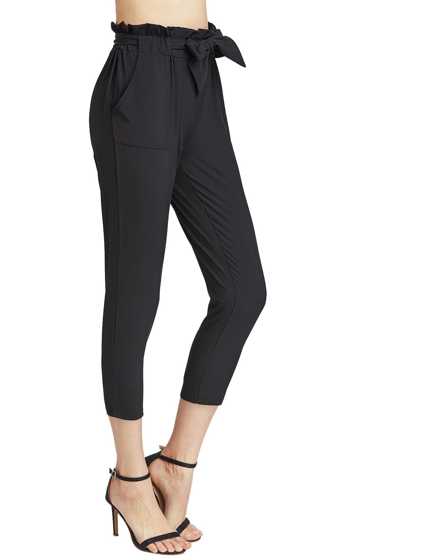 SweatyRocks Women's Skinny Straight Leg Belted Casual Pants Capris with Pockets Black XL
