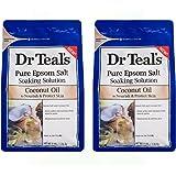 Dr Teals Coconut Oil Pure Epsom Salt Soaking Solution 3 lbs (Pack of 2)