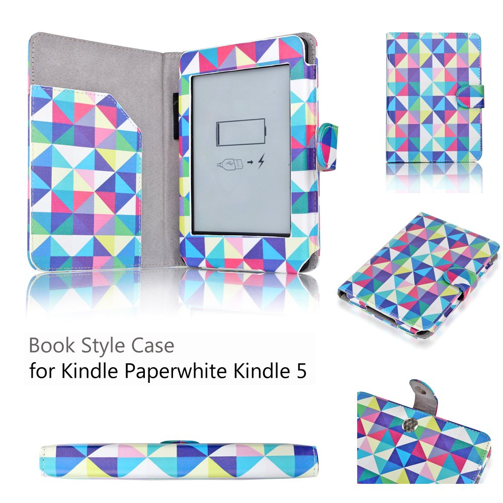 Amazon Kindle Paperwhite Case Square Multi Color Diamond Shape-Slim Folio PU Leather Smart Cover Stand Amazon All-NewKindlePaperwhite(Both2012and2013 versions)Auto Sleep Wake Feature and Stylus Holder by TNP Products