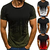 OMAS Men's Trendy Slim Fit O Neck Short Sleeve Muscle Tee T-Shirt Casual Blouse Tops