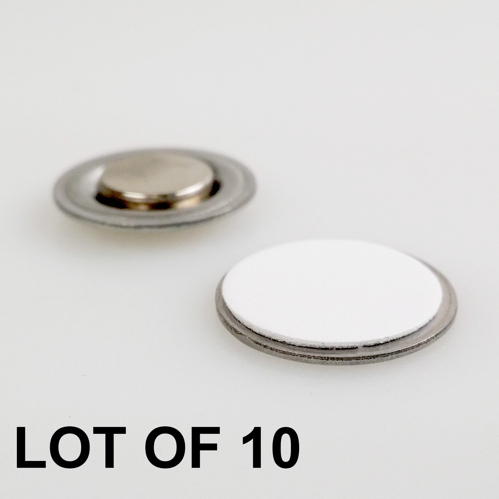 Small Round Magnetic Fastener//ID Badge Holder with Adhesive 10 Pack