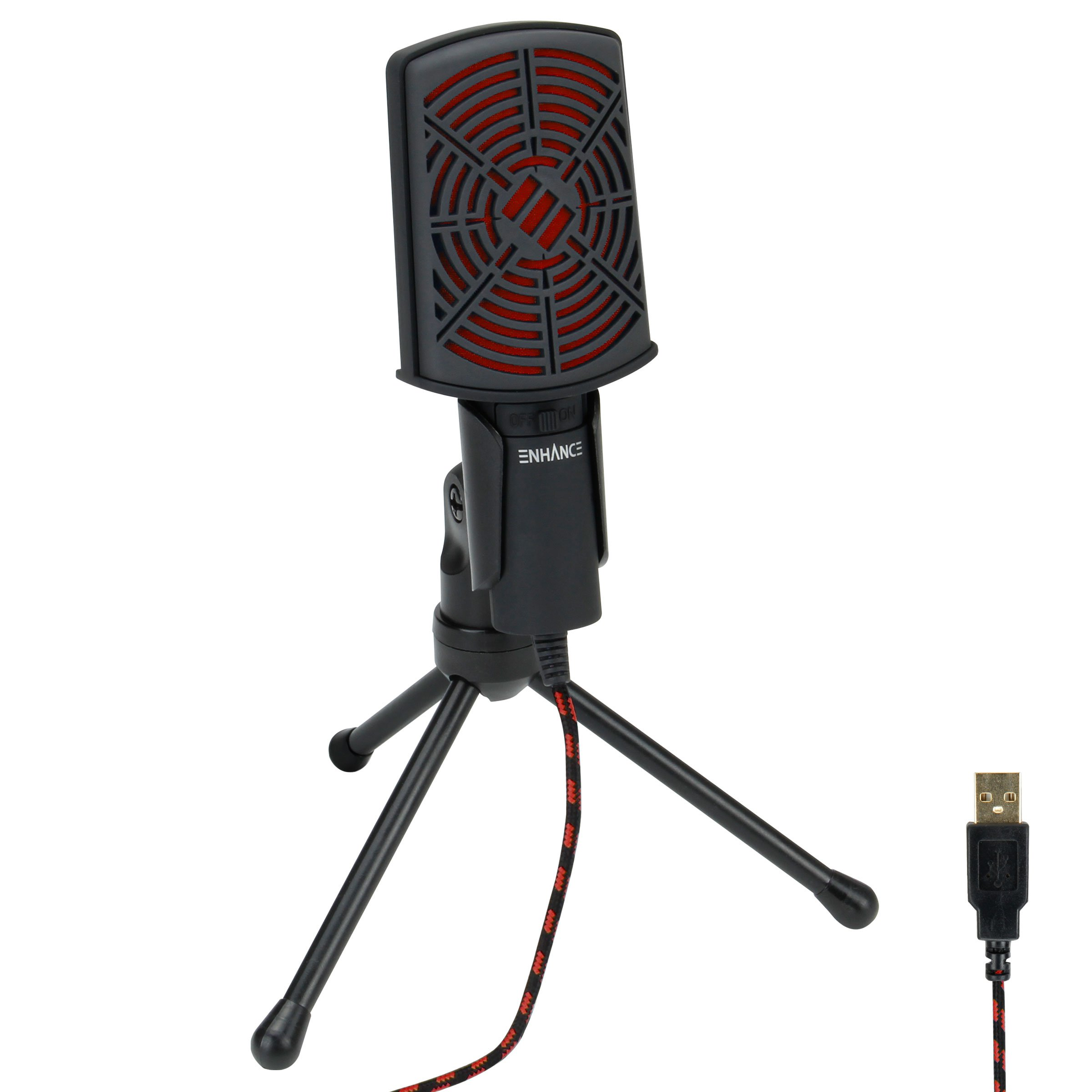ENHANCE USB Condenser Gaming Microphone - Computer Desktop Mic for Streaming & Recording with Adjustable Stand Design and Mute Switch - for Skype, Conference Calls, Twitch, YouTube, and Discord - Red