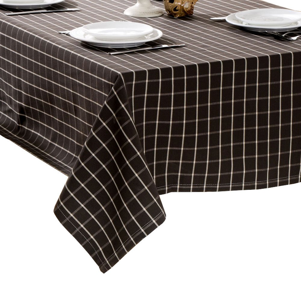R.LANG Spillproof Tablecloth 60 x 84-inch Zipper Tablecloth for Outdoor Use With Umbrella Covered Tables Dark Brown