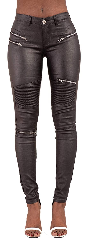 Lusty Chic Nero Leggings Ecopelle con Tasca per Donna Skinny Pelle Pantaloni