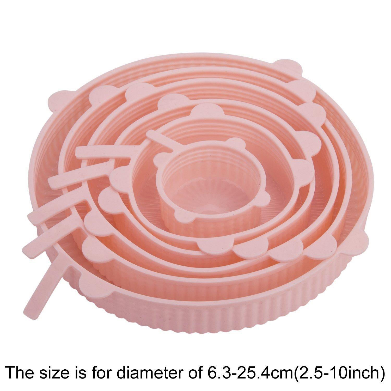 Reutilizables Tapa de Cubierta para Tazas y Latas-6 Piezas de Diferentes Tama/ños MOSISO Silicona Tapas de Comida y Cuenco Cuarzo Rosa