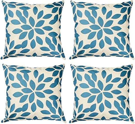 Topfinel Hojas algodón Lino Fundas de cojín Almohada Cuadrado Decorativa para sofás Juego de 4 45x45cm Hoja Azul: Amazon.es: Hogar