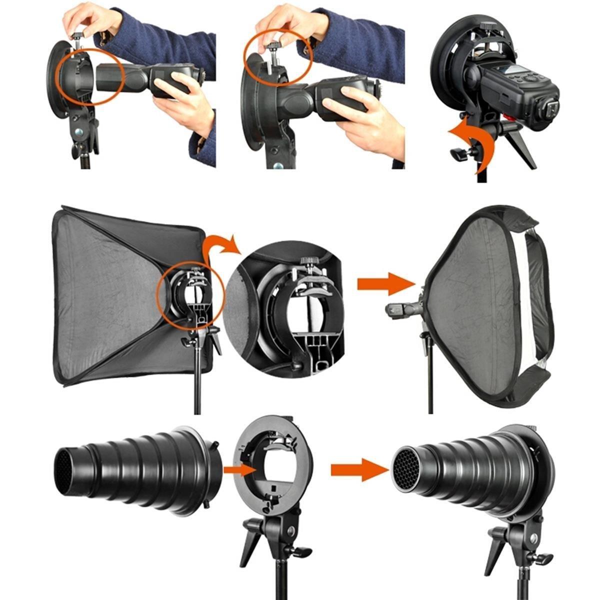 Godox 80/x 80/cm Pliable Flash Bo/îte /à Lumi/ère kit avec S-Type Support Bowens Support de Fixation pour Appareil Photo Flash Speedlight Studio Photo