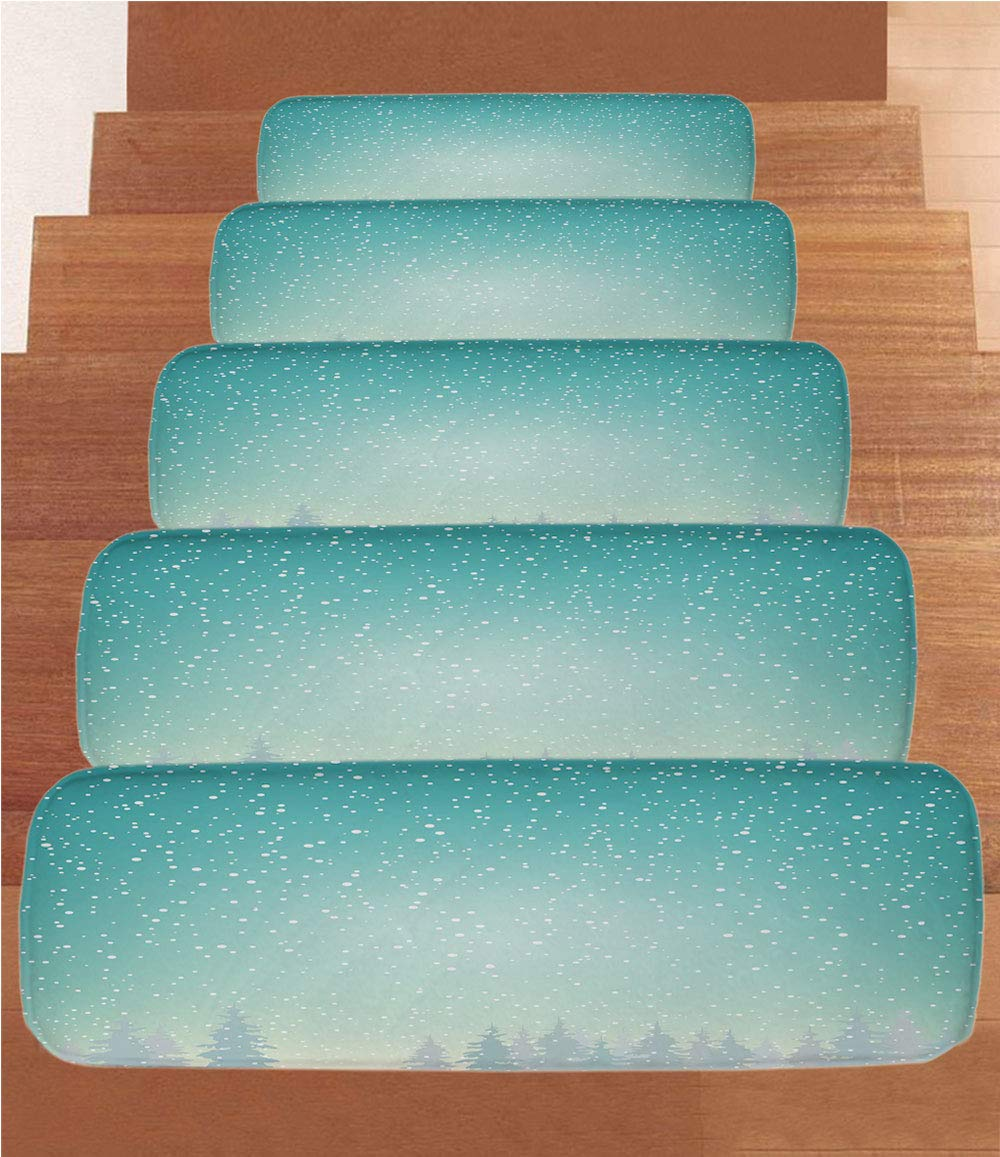 iPrint Non-Slip Carpets Stair Treads,Winter,Snow Falls on The Spruce Forest Fir Trees Seasonal Nature Woods ICY Cold Xmas Time Decorative,(Set of 5) 8.6''x27.5''