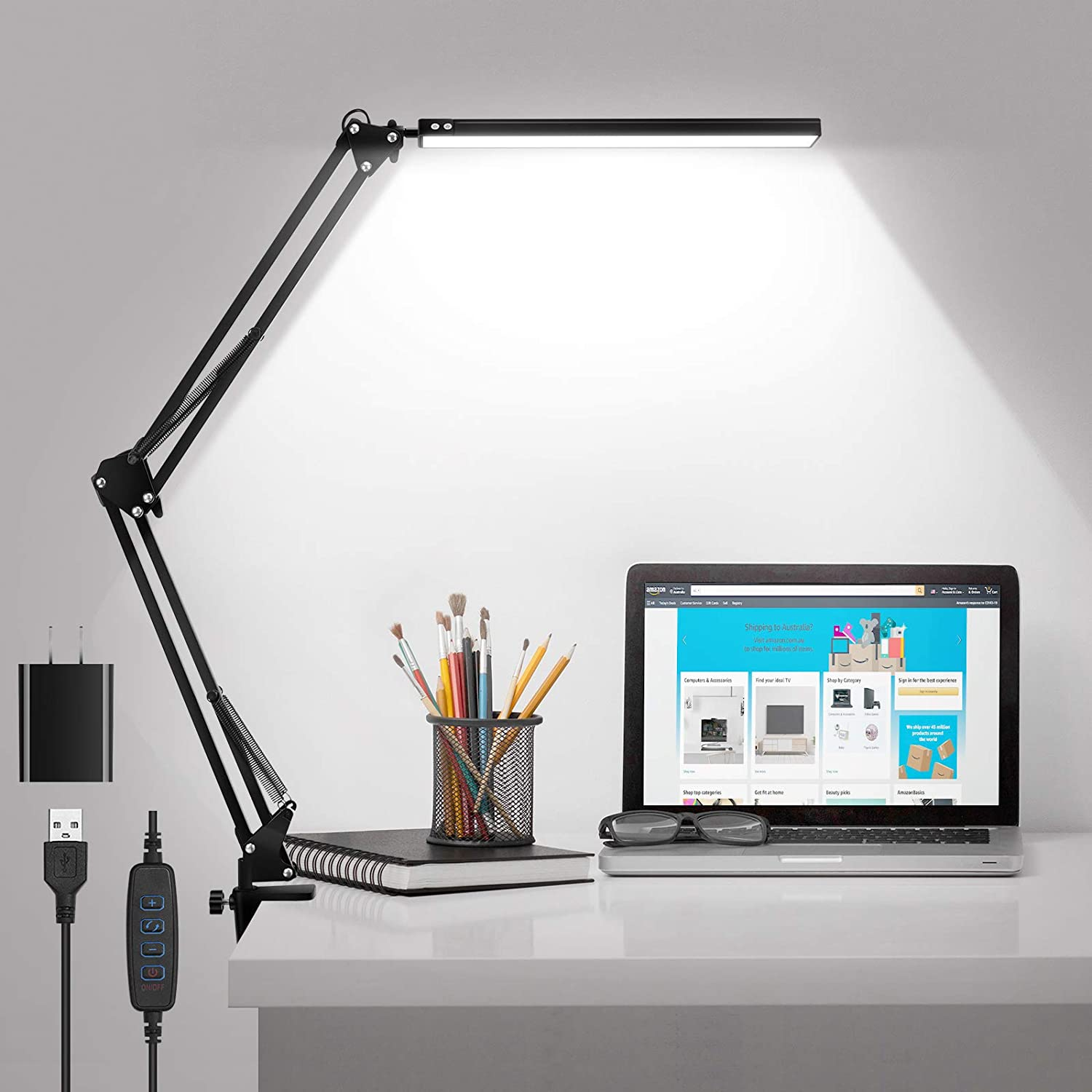 LED Desk Lamp with Clamp, Metal Swing Arm Desk Lamps for Home Office, Eye-Caring & Dimming Desk Light with 3 Colors Modes, 10 Brightness Levels & Adapter Included, Memory Function 10W (Black)