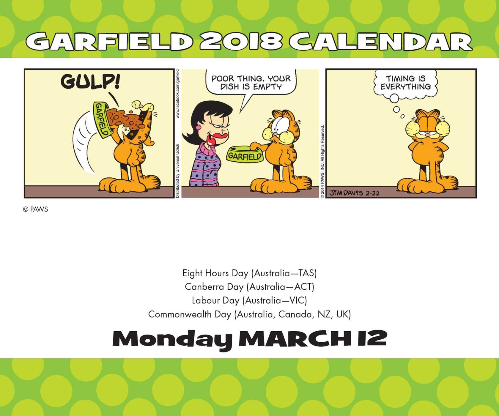 garfield naptár 2019 Garfield 2018 Day to Day Calendar: Jim Davis: 0050837359345  garfield naptár 2019