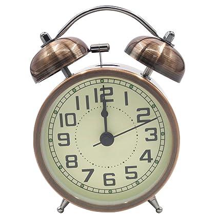EASEHOME Doble Campanas Reloj Despertador de Cuarzo Analógico, Vintage Despertadores Silencioso sin Tictac Despertadores de