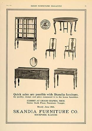 1918 Ad Skandia Furniture Rockford Sideboard Buffet   Original Print Ad