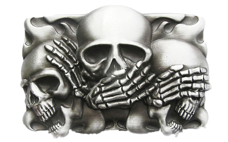 New Original Vintage Flame Shy Skulls Rectangle Tattoo Belt Buckle
