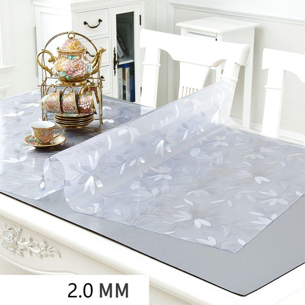 JIANFEI Mantel Rectangular Impermeable a Prueba de Aceite Vidrio Suave CLORURO DE POLIVINILO, 3 Colores, 10 tamaños Opcionales, Grueso 2.0mm (Color : C, Tamaño : 90  140CM)