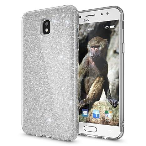 Coovertify Funda Purpurina Brillante Plateada Samsung J5 2017, Carcasa resistente de gel silicona con brillo gris Plata para Samsung Galaxy J5 2017 ...