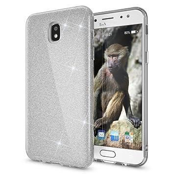 Coovertify Funda Purpurina Brillante Plateada Samsung J7 2017, Carcasa resistente de gel silicona con brillo gris Plata para Samsung Galaxy J7 2017 ...