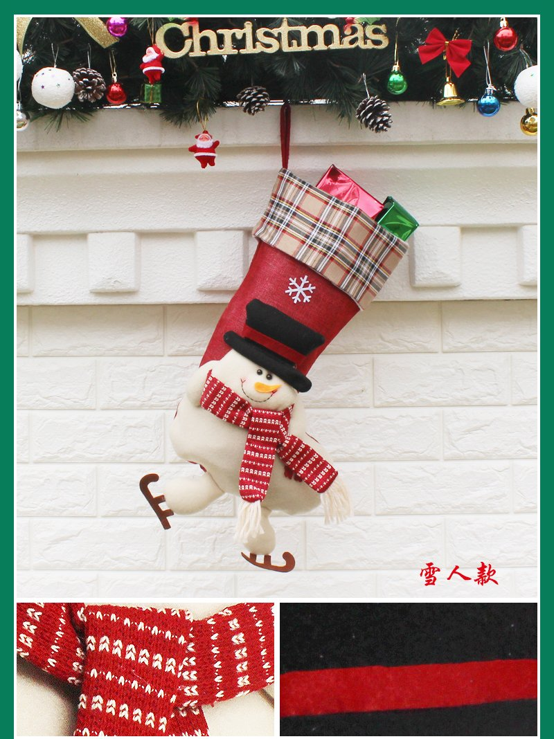 Amazon.com: EHOMEE Home Stocking Holder Christmas Stocking Holder Santa Claus Toys Stocking Festival Decoration Embroider Sock with Long Legs, Snowman (big ...