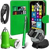 N4U Online-USB-Ladegerät, Leder Mappen-Kasten, LCD Film, Stylus, Autohalterung, Datenkabel für Nokia Lumia 630 - Grün