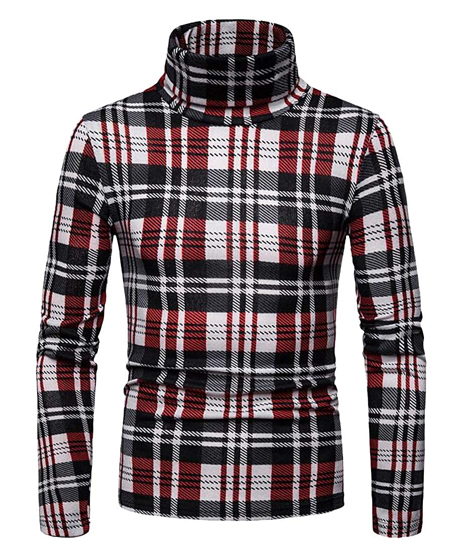 XTX Mens Turtle Neck Slim Plaid Warm Long Sleeve Thermal Underwear T-Shirt Top