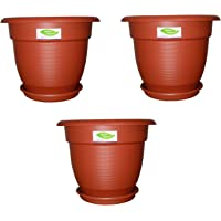 Minerva Naturals Elegance Gardening Planters/Pots with Bottom Trays (Terracotta, 12inch) - Pack of 3