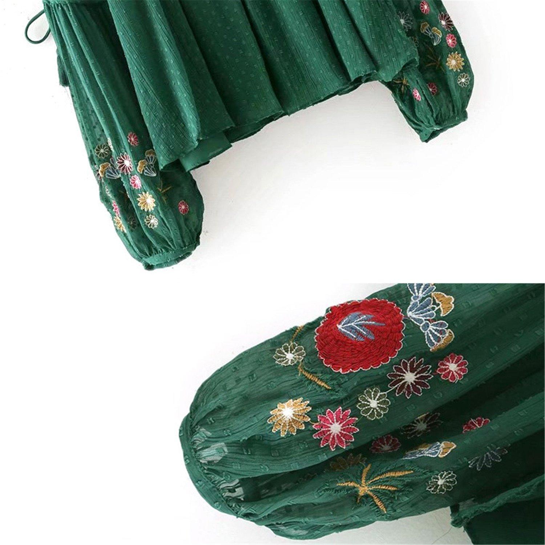 Feilongzaitianba Women Green Folk Embroidery Sleeve Shirt Vintage Casual Pleated Blouses Women Chiffon Shirt Xy2500