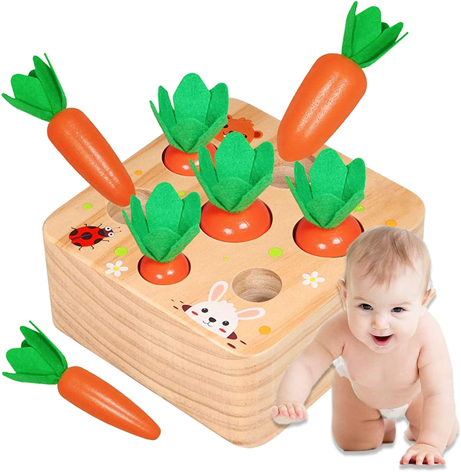 Faeny Montessori Toys for 1 Year Old, Wooden Baby Carrots Shape Size Sorting Game for Toddlers, Preschool Learning Fine Motor Skill Development , Ideal for Boys/Girls